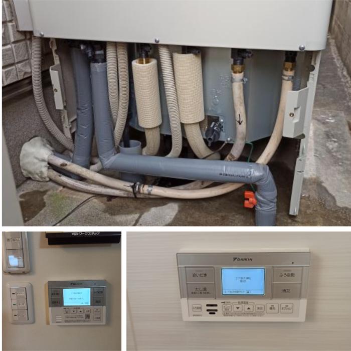 施工中 タンク部接続、台所浴槽リモコン